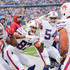 Matt Milano Photos - Joe Webb #14, Jordan Matthews #87 and Eddie Yarbrough #54 celebrate with Matt Milano #58 of the Buffalo Bills after Milano recovered a fumble and returned it for a touchdown during the second quarter of an NFL game against the Oakland Raiders on October 29, 2017 at New Era Field in Orchard Park, New York. - Oakland Raiders v Buffalo Bills