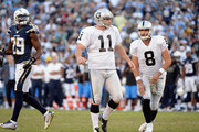 Sebastian Janikowski #11 of the Oakland Raiders reacts after his 25 yard field goal in the fourth quarter of the game against the San Diego Chargers at Qualcomm Stadium on November 16, 2014 in San Diego, California.