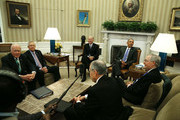 US President Barack Obama (2ndR), meets with Senate leaders and leaders of the Senate Judiciary Committee, to discuss the vacancy on the U.S. Supreme Court in the Oval Office at the White House, February 1, 2016 in Washington, DC.  Seated (L-R) are, Senate Judiciary ranking member Patrick Leahy, (D-VT), Senate Minority Leader Harry Reid, (N-NV), US Vice President Joseph Biden,  Senate Majority Leader Mitch McConnell (R-KY).  and Senate Judiciary Chairman Chuck Grassley, (R-IA)