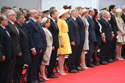 (L-R) European royals including Queen Mathilde of Belgium (yellow dress), King Philippe of Belgium, Dutch King Willem-Alexander; Queen Maxima of the Netherlands and Prince Edward, Duke of Kent attend the Belgian federal government ceremony to commemorate the bicentenary of the Battle of Waterloo on June 18, 2015 in Waterloo, Belgium. The ceremony is at the start of three days of official events marking the 200th anniversary of the Battle of Waterloo during which around 5000 historical re-enactors from around the world will take part in events culminating in a re-enactment of the allied defeat of Napoleon's army on June 20th. The 1815 battle saw the overthrow of Napoleon Bonaparte and the restoration of Louis XVIII to the French throne.