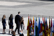 Princess Sofia, Queen Letizia of Spain, King Felipe of Spain and Crown Princess Leonor leave after the State tribute to the victims of the coronavirus at the Royal Palace on July 16, 2020 in Madrid, Spain.