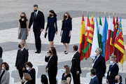 Crown Princess Leonor, King Felipe of Spain, Queen Letizia of Spain and Princess Sofia arrive to the State tribute to the victims of the coronavirus at the Royal Palace on July 16, 2020 in Madrid, Spain.