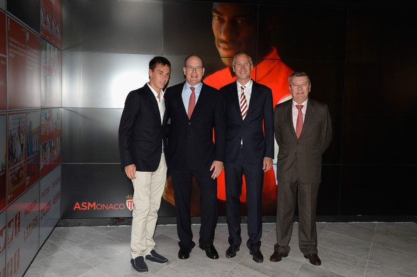 (L-R) Louis Ducruet,  Prince Albert II of Monaco, Vadim Vassilyev and guest attend the AS Monaco football club flagship store opening on July 31, 2014 in Monaco, Monaco.