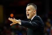Head coach Billy Donovan of the Oklahoma City Thunder shouts out instructions from the bench while playing the Cleveland Cavaliers at Quicken Loans Arena on January 29, 2017 in Cleveland, Ohio. Cleveland won the game 107-91. NOTE TO USER: User expressly acknowledges and agrees that, by downloading and or using this photograph, User is consenting to the terms and conditions of the Getty Images License Agreement.