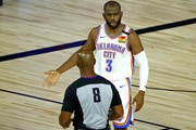 Chris Paul #3 of the Oklahoma City Thunder discusses a call with referee Marc Davis #8 during the second quarter against the Los Angeles Lakers at HP Field House at ESPN Wide World Of Sports Complex on August 05, 2020 in Lake Buena Vista, Florida. NOTE TO USER: User expressly acknowledges and agrees that, by downloading and or using this photograph, User is consenting to the terms and conditions of the Getty Images License Agreement.