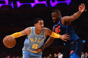 Jordan Clarkson #6 of the Los Angeles Lakers keeps his dribble from Raymond Felton #2 of the Oklahoma City Thunder during a 133-96 Thunder win at Staples Center on January 3, 2018 in Los Angeles, California.