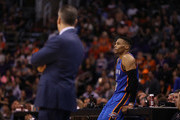 Russell Westbrook #0 of the Oklahoma City Thunder waits to check in alongside head coach Billy Donovan during the second half of the NBA game against the Phoenix Suns at Talking Stick Resort Arena on March 3, 2017 in Phoenix, Arizona. The Suns defeated the Thunder 118-111. NOTE TO USER: User expressly acknowledges and agrees that, by downloading and or using this photograph, User is consenting to the terms and conditions of the Getty Images License Agreement.