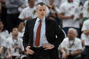 Head coach Billy Donovan of the Oklahoma City Thunder looks down court in the first half during Game Four of Round One of the 2018 NBA Playoffs against the Utah Jazz at Vivint Smart Home Arena on April 23, 2018 in Salt Lake City, Utah. NOTE TO USER: User expressly acknowledges and agrees that, by downloading and or using this photograph, User is consenting to the terms and conditions of the Getty Images License Agreement.