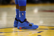 A close-up of the Nike sneakers worn by Paul George #13 of the Oklahoma City Thunder during their game against the Golden State Warriors at ORACLE Arena on October 16, 2018 in Oakland, California.  NOTE TO USER: User expressly acknowledges and agrees that, by downloading and or using this photograph, User is consenting to the terms and conditions of the Getty Images License Agreement.