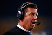 Head coach Mike Gundy of the Oklahoma State Cowboys looks on in the second half against the West Virginia Mountaineers during the game at Mountaineer Field on October 10, 2015 in Morgantown, West Virginia.