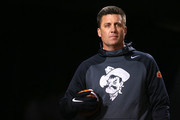 Head coach Mike Gundy of the Oklahoma State Cowboys looks on before a game against the Oklahoma Sooners at Boone Pickens Stadium on November 28, 2015 in Stillwater, Oklahoma.
