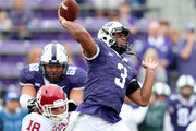Shawn Robinson #3 of the TCU Horned Frogs looks for an open receiver against the Oklahoma Sooners in the first quarter at Amon G. Carter Stadium on October 20, 2018 in Fort Worth, Texas.