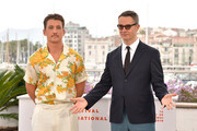"""Miles Teller and Nicolas Winding Refn attend the """"Too Old To Die Young"""" photocall during the 72nd annual Cannes Film Festival on May 18, 2019 in Cannes, France."""