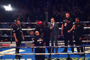 Promoter David Haye (R) looks on as Dereck Chisora and Dillian Whyte go head to head before the WBC, WBA, WBO, IBF & Ring Magazine World Cruiserweight Title Fight between Oleksandr Usyk and Tony Bellew at Manchester Arena on November 10, 2018 in Manchester, England.