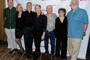 "Director Mark Brokaw, actress Julie Halston, actor  David Garrison, playwright Charles Busch, actor Dan Butler, actress Marcia Jean Kurtz and actor Richard Masur pose for a photo at the after party for the opening night of ""Olive and the Bitter Herbs"" at 48 Lounge on August 16, 2011 in New York City."