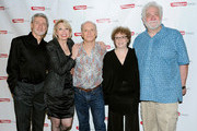 "Actors David Garrison, Julie Halston, Dan Butler, Marcia Jean Kurtz and Richard Masur pose for a photo at the after party for the opening night of ""Olive and the Bitter Herbs"" at 48 Lounge on August 16, 2011 in New York City."