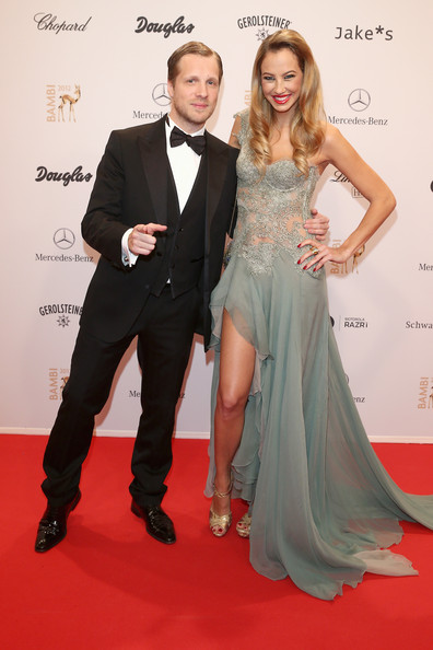 BAMBI Awards 2012 - Red Carpet Arrivals [carpet,red carpet,clothing,formal wear,dress,suit,gown,premiere,hairstyle,flooring,alessandra pocher,oliver pocher,bambi awards,bambi awards 2012,stadthalle duesseldorf,germany,red carpet arrivals]