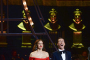 Katharine McPhee and Jack McBrayer present the Best Actor in a Musical award on stage during The Olivier Awards 2019 with Mastercard at the Royal Albert Hall on April 07, 2019 in London, England.
