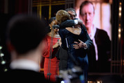 Juliet Stevenson presents the Special award to David Lan on stage during The Olivier Awards with Mastercard at Royal Albert Hall on April 8, 2018 in London, England.