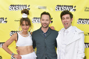 """(L-R) Actors and co-writers Alexi Pappas and Nick Kroll, and director and co-writer Jeremy Teicher  attend the """"Olympic Dreams"""" premiere during the 2019 SXSW Conference and Festivals at ZACH Theatre on March 10, 2019 in Austin, Texas."""