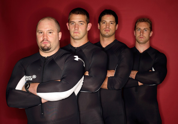 Justin Olsen Four man bobsled team members (L-R) , Steve Holcom, Justin Olsen, Steve Mesler and Curtis Tomasevicz pose for a portrait during Day Two of the 2010 U.S. Olympic Team Media Summit at the Palmer House Hilton on September 11, 2009 in Chicago, Illinois.
