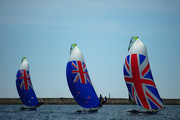 (L-R) Nathan Outteridge and Iain Jensen of Australia, Peter Burling and Blair Tuke of New Zealand and Stevie Morrison and Ben Rhodes of Great Britain compete in the Men's 49er Sailing on Day 12 of the London 2012 Olympic Games at the Weymouth & Portland Venue at Weymouth Harbour on August 8, 2012 in Weymouth, England.