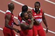 Keston Bledman, Marc Burns, Emmanuel Callender and Richard Thompson of Trinidad and Tobago celebrate winning bronze after the Men's 4 x 100m Relay Final on Day 15 of the London 2012 Olympic Games at Olympic Stadium on August 11, 2012 in London, England.