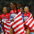 Sanya Richards-Ross Photos - Francena McCorory, Allyson Felix, DeeDee Trotter and Sanya Richards-Ross of the United States celebrate winning gold in the Women's 4 x 400m Relay Final on Day 15 of the London 2012 Olympic Games at Olympic Stadium on August 11, 2012 in London, England. - Olympics Day 15 - Athletics