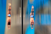 Tom Daley (L) and Peter Waterfield of Great Britain compete in the Men's Synchronised 10m Platform Diving on Day 3 of the London 2012 Olympic Games at the Aquatics Centre on July 30, 2012 in London, England.