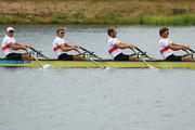 Tim Grohmann, Lauritz Schoof, Phillipp Wende and Karl Schulze of Germany compete in the Men's Quadruple Sculls semi final on Day 5 of the London 2012 Olympic Games at Eton Dorney on August 1, 2012 in Windsor, England.
