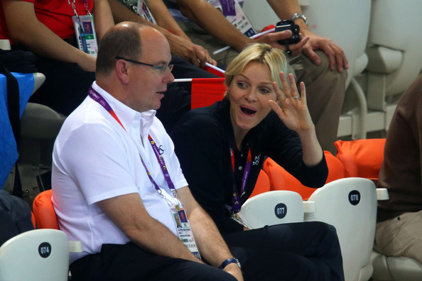 Princess Charlene (R) and Prince Albert II of Monaco attend the night session of swimming on Day 5 of the London 2012 Olympic Games at the Aquatics Centre on August 1, 2012 in London, England.