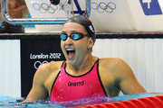 Rebecca Soni of the United States reacts after she finished first and set a new world record in the second semifinal heat of the Women's 200m Breaststroke on Day 5 of the London 2012 Olympic Games at the Aquatics Centre on August 1, 2012 in London, England.