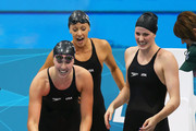 (Clockwise from bottom)  Allison Schmitt, Shannon Vreeland, Dana Vollmer and Missy Franklin of the United States celebrate after they won the Final of the Women's 4x200m Freestyle Relay on Day 5 of the London 2012 Olympic Games at the Aquatics Centre on August 1, 2012 in London, England.