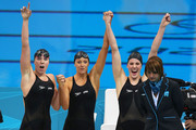 (top L-R) Shannon Vreeland, Missy Franklin, Dana Vollmer and (R), Allison Schmitt (in pool) of the United States celebrate after they won the Final of the Women's 4x200m Freestyle Relay on Day 5 of the London 2012 Olympic Games at the Aquatics Centre on August 1, 2012 in London, England.