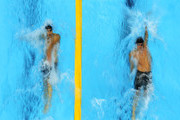 (L-R)  Michael Phelps of the United States and Ryan Lochte of the United States compete in the first semifinal heat of the Men's 200m Individual Medley on Day 5 of the London 2012 Olympic Games at the Aquatics Centre on August 1, 2012 in London, England.