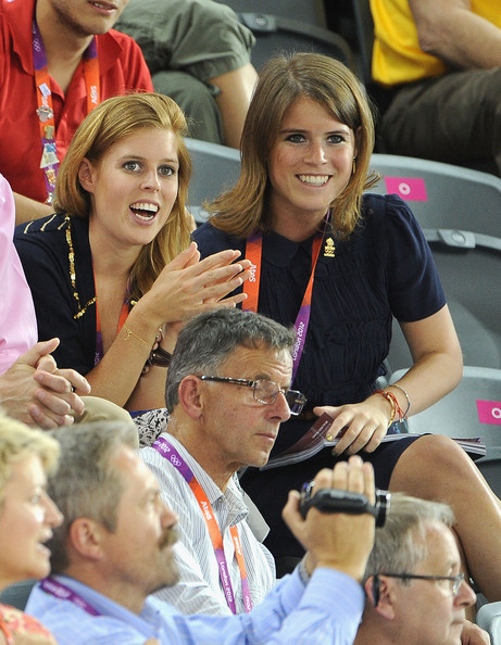 Princess Beatrice (L) and Princess Eugenie during Day 6 of the London 2012 Olympic Games at Velodrome on August 2, 2012 in London, England.