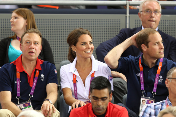 Catherine, Duchess of Cambridge and Prince William, Duke of Cambridge sit with Andy Hunt, Chef de Mission for Great Britain as they watch the track cycling on Day 6 of the London 2012 Olympic Games at Velodrome on August 2, 2012 in London, England.