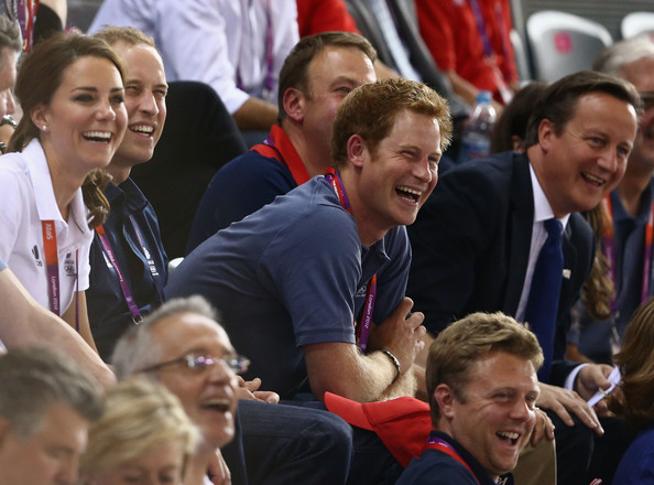 (L-R) Catherine, Duchess of Cambridge, Prince William, Duke of Cambridge, Prince Harry and Prime Minister David Cameron laugh as they watch the track cycling on Day 6 of the London 2012 Olympic Games at Velodrome on August 2, 2012 in London, England.