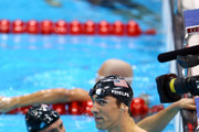 Gold medallist Michael Phelps (R) of the United States reacts along with silver medallist Ryan Lochte (L) of the United States following the Men's 200m Individual Medley final on Day 6 of the London 2012 Olympic Games at the Aquatics Centre on August 2, 2012 in London, England.