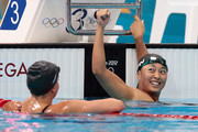 Satomi Suzuki of Japan celebrates after winning silver in the Women's 200m Breaststroke Final on Day 6 of the London 2012 Olympic Games at the Aquatics Centre on August 2, 2012 in London, England.
