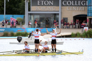 Tim Grohmann, Lauritz Schoof, Phillipp Wende and Karl Schulze of Germany celebrate winning gold in the Men's Quadruple Sculls final on Day 7 of the London 2012 Olympic Games at Eton Dorney on August 3, 2012 in Windsor, England.