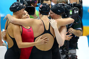 Dana Vollmer, Missy Franklin, Allison Schmitt, and Rebecca Soni of the United States celebrate winning the Women's 4x100m Medley Relay on Day 8 of the London 2012 Olympic Games at the Aquatics Centre on August 4, 2012 in London, England.