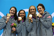 Gold medallists (L-R) Missy Franklin, Rebecca Soni, Dana Volmer, and Allison Schmitt of the United States pose on the podium during the medal ceremony for the Women's 4x100m medley Relay Final on Day 8 of the London 2012 Olympic Games at the Aquatics Centre on August 4, 2012 in London, England.