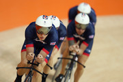 Steven Burke of Great Britain and Team GB leads the team pursuit riders during training at the Rio Olympic Velodrome on August 4, 2016 in Rio de Janeiro, Brazil.