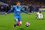 Aaron Ramsey of Juventus during the UEFA Champions League round of 16 first leg match between Olympique Lyon and Juventus at Parc Olympique on February 26, 2020 in Lyon, France.