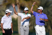 Gary Stal of France chatting with Sergio Garcia of Spain and Lee Westwood of England on the par five 13th hole during the first round of the Omega Dubai Desert Classic at the Emirates Golf Club on January 29, 2015 in Dubai, United Arab Emirates.