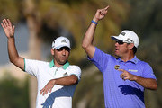 Sergio Garcia of Spain and Lee Westwood of England on the par five 13th hole during the first round of the Omega Dubai Desert Classic at the Emirates Golf Club on January 29, 2015 in Dubai, United Arab Emirates.