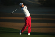 Jin Jeong of South Korea hits his second shot on the 3rd hole during the second round of the Omega Dubai Desert Classic at the Emirates Golf Club on February 5, 2016 in Dubai, United Arab Emirates.