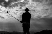 (EDITORS NOTE; This images was converted into black and white from a color original file.) Rory McIlroy of Northern Ireland plays a shot during the pro-am prior to the start of the Omega European Masters at Crans Montana Golf Club on August 28, 2019 in Crans-Montana, Switzerland.
