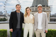 (L-R) Leonardo DiCaprio, Margot Robbie and Brad Pitt attend the 'Once Upon A Time In Hollywood' Photocall in London at The Corinthia Hotel on July 31, 2019 in London, England.